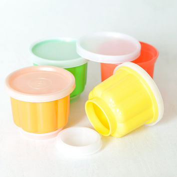 Vintage Tupperware Jello Molds, Colorful Tupperware, Single Serve Jello Cups Great for Jello Shots Set of Four