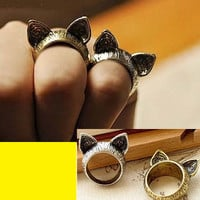 2 Kitty Ears Vintage Rings ( Set of Antique Gold+Silver) | LilyFair Jewelry