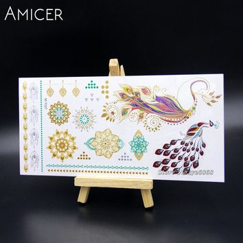 Body Art Temporary Tattoos Gold Flash Metallic Tattoo Arm Sleeves Sticker Henna Women Jewelry Waterproof For Peacock