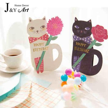 Valentine's Day 5 pcs Cat bouquet card stereoscopic wedding love party