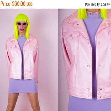 BACK 2 SCHOOL SALE 90s Pink Faux Leather Studded Jacket
