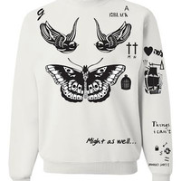 Tattoo Crewneck Sweatshirt Harry Styles Tattoos One Direction