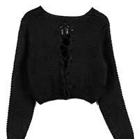 Black Lace Up Back Crop Cable Knit Jumper