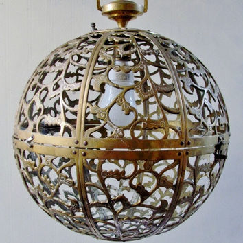 Mid-Century Solid Brass Globe Hanging Lamp/Chandelier