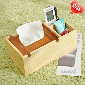wood color wooden multifunctional storage box with tissue box for remoter, hand cream and others