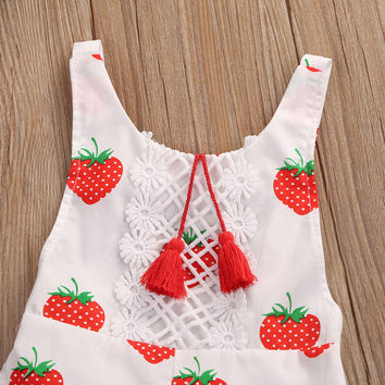 Cute Newborn Baby Girls Romper Strawberry Sleeveless Backless Halter Jumpsuit Baby Clothing