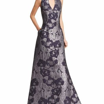 Aidan Mattox Metallic Floral Print V-Neck Gown MD1E200784 - 1 pc Twilight In Size 4 Available