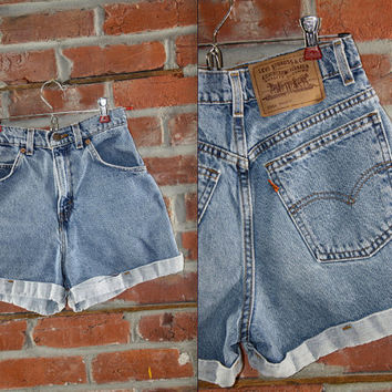 Levis Highwaisted Shorts // XS 0 Extra Small Women's Size // Denim Jean Blue // Vintage Levi's Levi Strauss Orange Tab // High Waist Waisted