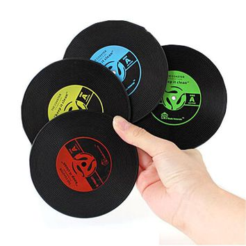 DCCKL72 1pcs Table Cup Mat Creative Decor Coffee Drink Placemat Tableware Spinning Retro Vinyl CD Record Drinks Coasters
