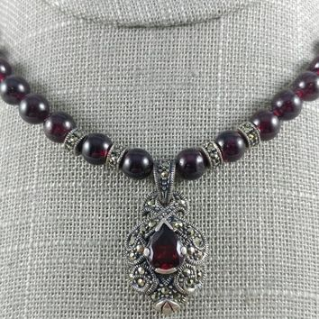 Rare Judith Jack Garnet And Marcasite Sterling Silver Necklace And Earring Set Artist Signed JJ,  Judith & Jack Set, Vintage 1970s Art Deco
