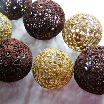 Party Lighting, Holiday Lights, Bedroom Decor, Fairy Lights, String Lights, 20 Crocheted chocolate gold balls , garland light