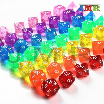 Top Quality Set of 7 Translucent Sided Dice D4 D6 D8 D10 D12 D20 for Dungeons and Dragons Dice Dados Rpg Boardgame