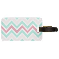 Pink and Teal Chevron Pattern Tag For Luggage