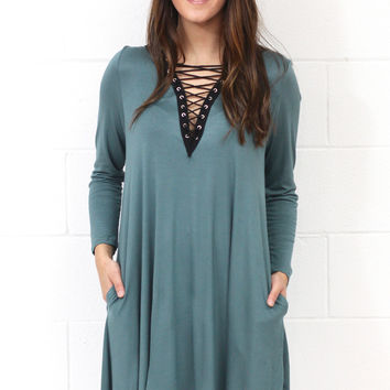 Gone Rogue Laced Up Dress {Lt. Hunter Green}