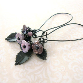 Black and Purple Flower Dangle Earrings - Unique Jewelry Alternative Flower Earrings Purple Jewelry Dainty Earrings Woodland Fairy Earrings