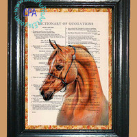 Red Sorrel Horse - - Vintage Dictionary Book Page Art-Upcycled Page Art,Wall Art,Collage Art, Equine Art, Wild Horse