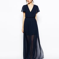 V-Neck Short-Sleeve Chiffon Maxi Dress With Slit