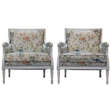 Pair of Louis XVI Floral Fauteuil Armchairs
