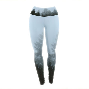 """Robin Dickinson """"Welcome to Earth"""" Mist Forest Yoga Leggings"""