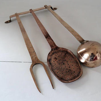 Antique French, Copper Utensils And Rack