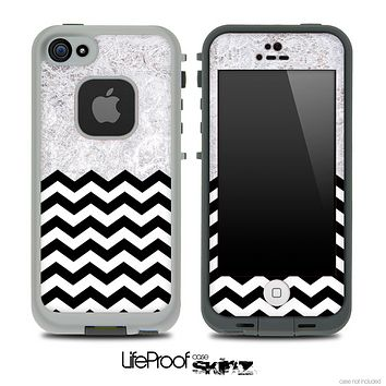 Mixed White Lace and Chevron Pattern Skin for the iPhone 5 or 4/4s LifeProof Case