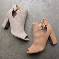 distressed peep-toe booties (more colors)