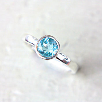 Blue Topaz Ring Swiss Blue Topaz Gem Engagement Ring Solitaire Ring Recycled Sterling Silver Size 6,5 Promise Ring Birthstone Jewelry