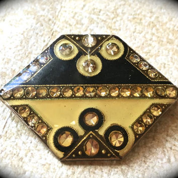 Catherine Popesco style Brooch with Enamel & Rhinestones