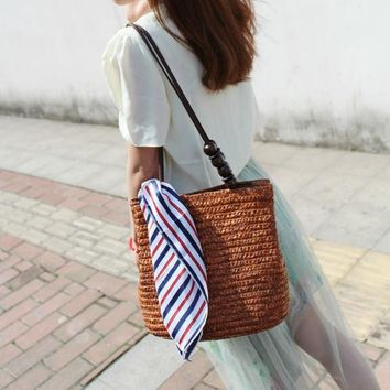 Rattan Bag Handmade Bamboo Knitting Shoulder Bags Women Casual Weave Bucket Bag Summer Ladies Woven Straw Beach Bag Female Tote
