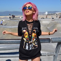 Print Hollow Out Lace Up T-shirt