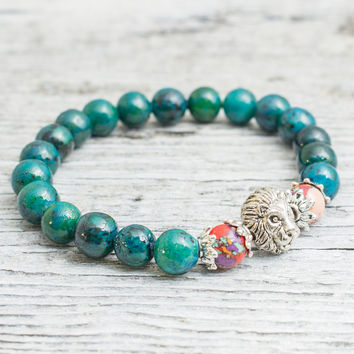 Green phoenix stone beaded silver Lion head stretchy bracelet, made to order yoga bracelet, mens bracelet, womens bracelet