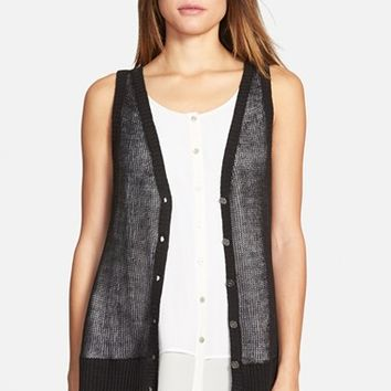 Women's Eileen Fisher V-Neck Organic Linen Vest