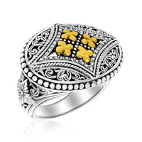 18K Yellow Gold & Sterling Silver Floral Byzantine Pattern Oval Ring: Size 8