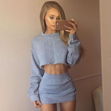 Simple Fashion Solid Color Long Sleeve Sweater Crop Tops Short Skirt Set Two-Piece