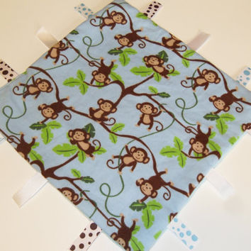 Monkey Tag Ribbon Blanket Jungle Baby Boy Gift