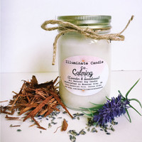 Calming (Lavender & Sandalwood) Soy Wax Candle | Essential oil Candles| Handmade| Gifts