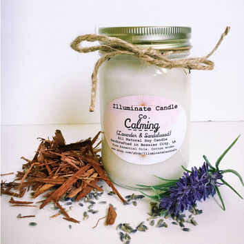 Calming (Lavender & Sandalwood) Soy Wax Candle   Essential oil Candles  Handmade  Gifts