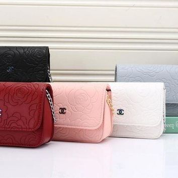 DCCK6HW Chanel' Simple Fashion All-match Flower Embossed Metal Chain Single Shoulder Messenger Bag Women Flip Small Square Bag