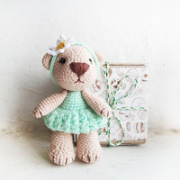 Miniature mint and beige cream bear /Tiny crocheted toy / Amigurumi teddy / Cute stuffed animal for baby