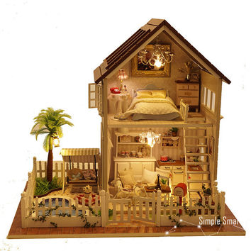 Miniature Dollhouse  DIY Kit Paris Apartment with Voice Control Light and Music Box Cute Room House Model Paris Apartment