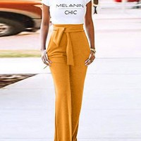New Yellow Belt Pockets High Waisted Bell Bottomed Flares Long Pant