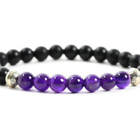 Amethyst Bracelet for Men, Black Onyx Bracelet, Bracelet for Protection and Change, Natural Purple Gemstone,