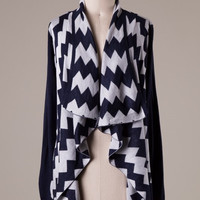 Chevron Cardigan - Navy