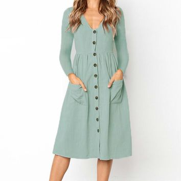Vintage Women Midi Dresses with Button Pocket Autumn Long Sleeve Femme V-neck Dresses Winter Solid A-line Dress Plus Size GV484