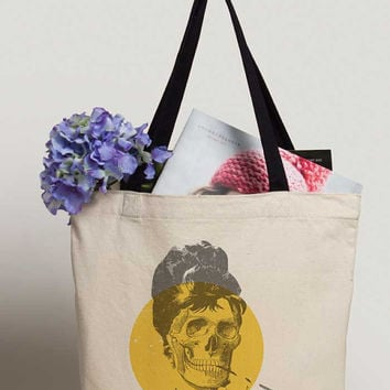 Tote Bag Audrey Hepburn Skull, Breakfast At Tiffany's Canvas Bag, Punk Art, Zombie, Holly Golightly, Hollywood Icon, Classic, Movies