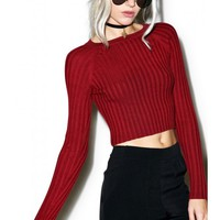 For Love & Lemons Back To Basics Maroon Crop Top | Dolls Kill