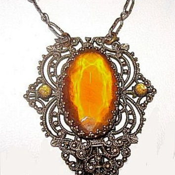 "Art Deco Pendant Necklace Yellow Orange Rhinestones & Marcasites Paper Clip Chain 18"" Vintage"