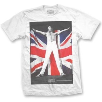 Freddie Mercury Queen Union Jack UK Flag Licensed Adult Unisex T-Shirt