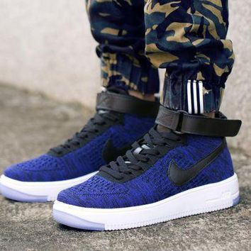 ESBBE6 Nike Air Force 1 Flyknit Mid-High 817420-400 Blue For Women Men Running Sport Casual Shoes Sneakers