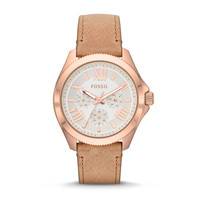 Cecile Multifunction Leather Watch - Sand